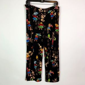 Chico's Pants Women's 2 Large Cropped Asian Theme